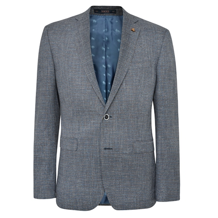 Blue Micro Puppytooth Classic Fit Jacket  - Click to view a larger image