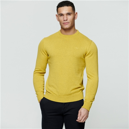 Chartreuse Carn Cotton Crew Neck Jumper  - Click to view a larger image