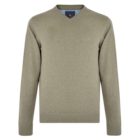 Taupe Carn Cotton V Neck Jumper  - Click to view a larger image