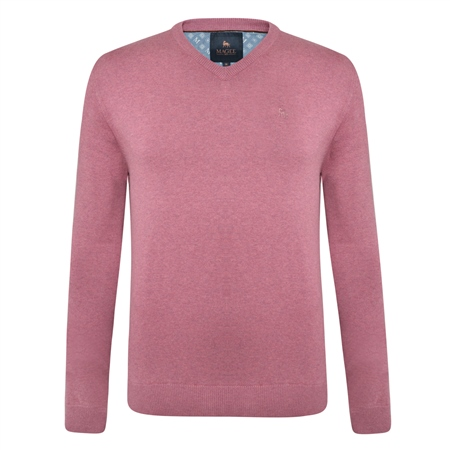 Pink Carn Cotton V Neck Jumper  - Click to view a larger image