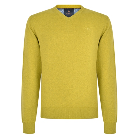 Chartreuse Carn Cotton V Neck Jumper  - Click to view a larger image