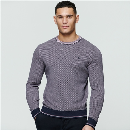 Purple Cashelenny Birdseye Crew Neck Jumper  - Click to view a larger image