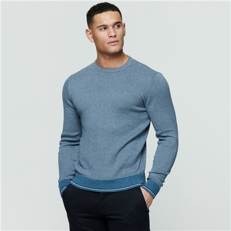 Light Blue Cashelenny Birdseye Crew Neck Jumper  - Click to view a larger image