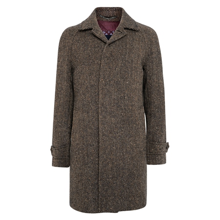 Brown/Navy Erne Herringbone Donegal Tweed Raglan Coat  - Click to view a larger image