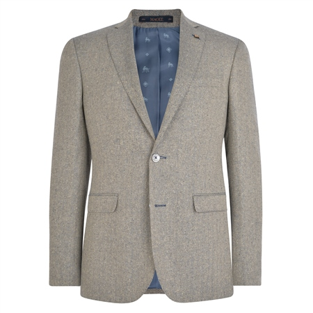 Oat & Blue Herringbone Donegal Tweed Tailored Fit Jacket  - Click to view a larger image