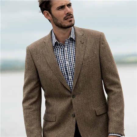 Brown Herringbone Donegal Tweed Classic Fit Jacket  - Click to view a larger image