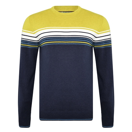Navy & Chartreuse Termon Striped Cotton Crew Neck Jumper  - Click to view a larger image