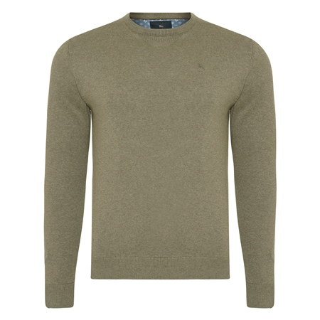 Taupe Carn Cotton Crew Neck Jumper  - Click to view a larger image