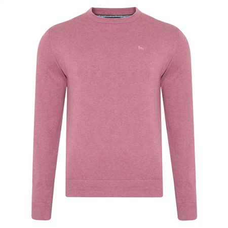 Pink Carn Cotton Crew Neck Jumper  - Click to view a larger image
