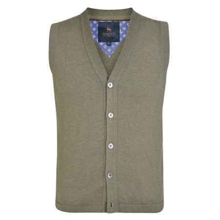 Taupe Kilgole Knitted Waistcoat  - Click to view a larger image