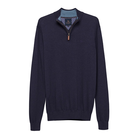 Navy Carn Cotton 1/4 Zip  - Click to view a larger image