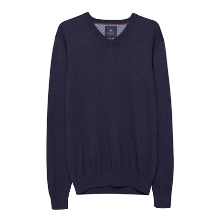 Navy Carn Cotton V Neck Jumper  - Click to view a larger image