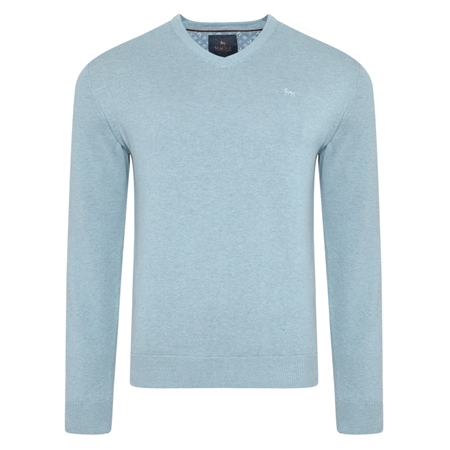 Blue Carn Cotton V Neck Jumper  - Click to view a larger image