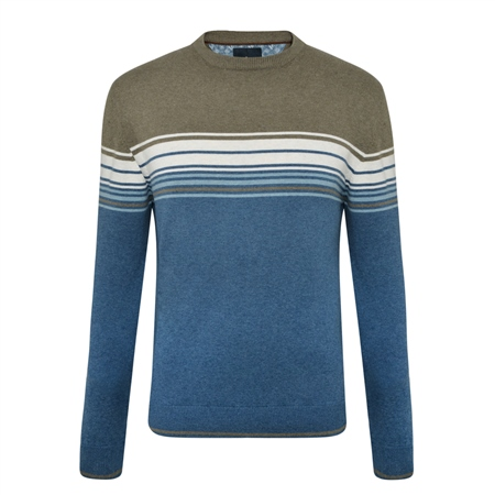 Teal & Taupe Termon Striped Cotton Crew Neck Jumper  - Click to view a larger image