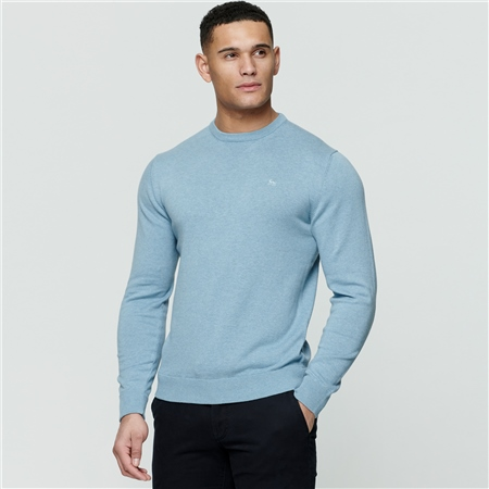 Blue Carn Cotton Crew Jumper  - Click to view a larger image