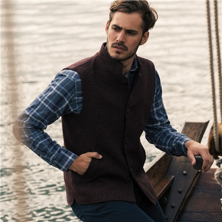 Maroon Cavan Handwoven Donegal Tweed Gilet  - Click to view a larger image
