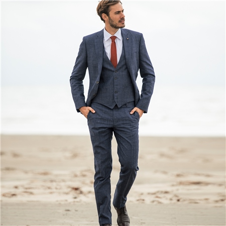 Navy Linen Blend Prince of Wales Check 3-Piece Tailored Fit Suit  - Click to view a larger image