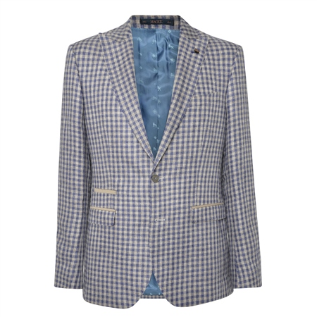 Oat & Denim Blue Gingham Check Tailored Fit Jacket  - Click to view a larger image
