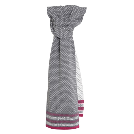 Cashmere Blend Scarf in Grey, Fuchsia and White  - Click to view a larger image