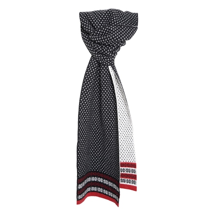 Cashmere Blend Scarf in Black, Red and White  - Click to view a larger image