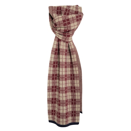 Cashmere Blend Scarf in Navy, Maroon and Beige  - Click to view a larger image