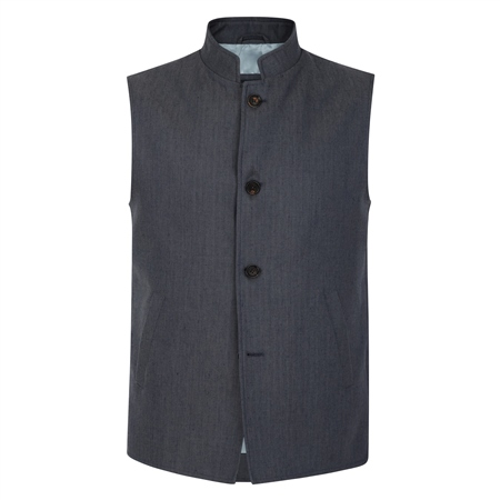 Navy Cavan Donegal Tweed Herringbone Tailored Fit Gilet  - Click to view a larger image