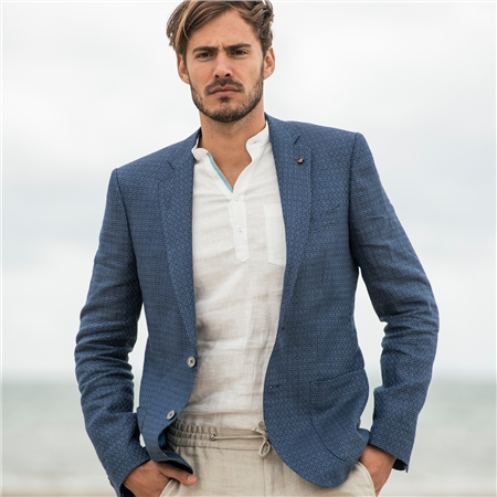 Blue Geometric Houndstooth Donegal Linen Tailored Fit Jacket  - Click to view a larger image