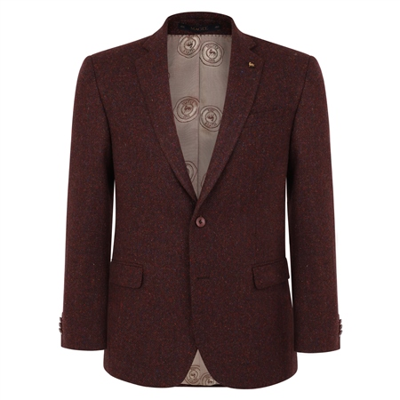 Maroon Handwoven Herringbone Donegal Tweed Classic Fit Jacket  - Click to view a larger image