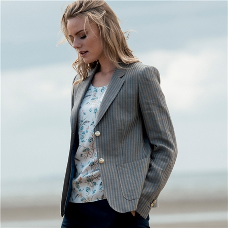 Oat & Blue Alicia Herringbone Donegal Linen Jacket  - Click to view a larger image