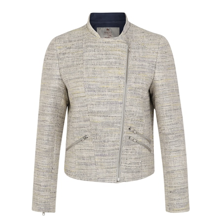 Beige Ards Biker Donegal Tweed Jacket  - Click to view a larger image