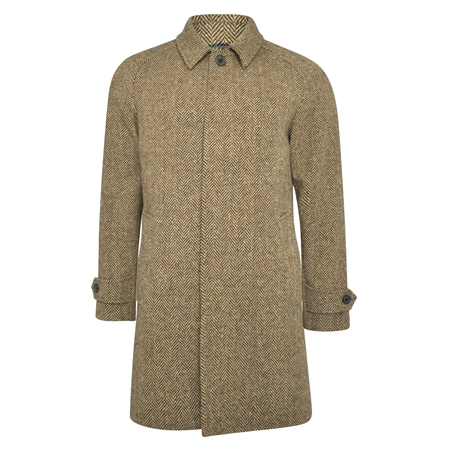 Light Brown Erne Herringbone Donegal Tweed Raglan Coat  - Click to view a larger image