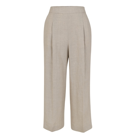 Beige Willow Cropped Irish Linen Trousers  - Click to view a larger image