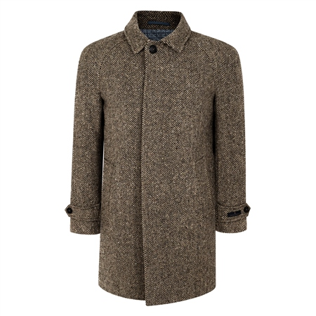 Oat/Brown Erne Herringbone Donegal Tweed Raglan Coat  - Click to view a larger image