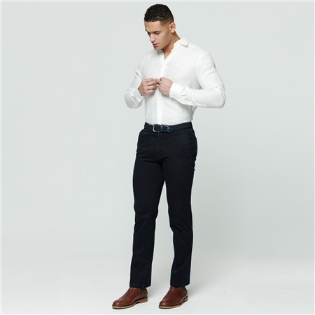 Navy Callan Washed Tailored Fit Trousers  - Click to view a larger image