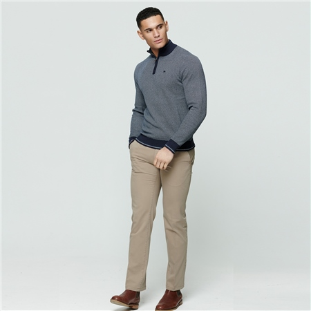Beige Callan Washed Tailored Fit Trousers  - Click to view a larger image