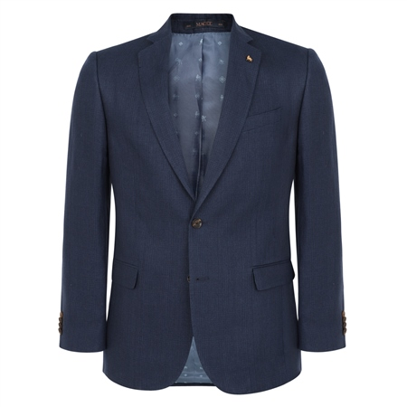 Navy Linen Glen Check 2-Piece Classic Fit Suit  - Click to view a larger image