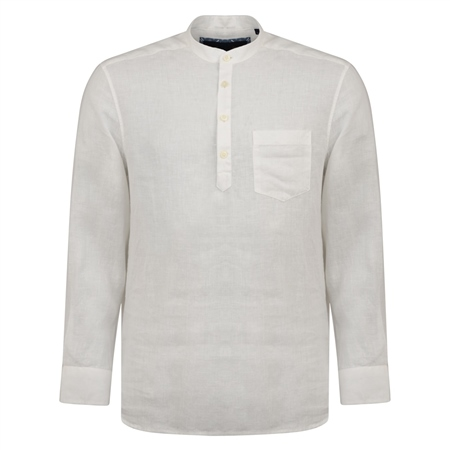 Ivory Corlea Washed Irish Linen Grandfather Classic Fit Shirt  - Click to view a larger image
