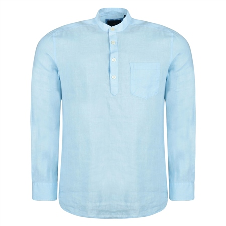Baby Blue Corlea Washed Irish Linen Grandfather Classic Fit Shirt  - Click to view a larger image