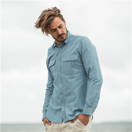 Blue Drumbar Washed Denim Tailored Fit Shirt  - Click to view a larger image
