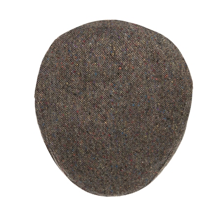 Dark Green Salt & Pepper Donegal Tweed Flat Cap  - Click to view a larger image