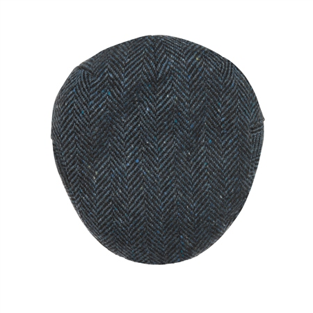 Blue Herringbone Donegal Tweed Flat Cap  - Click to view a larger image