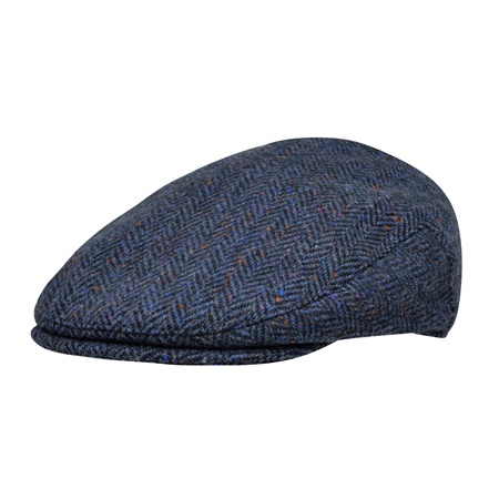 Navy Herringbone Donegal Tweed Flat Cap  - Click to view a larger image