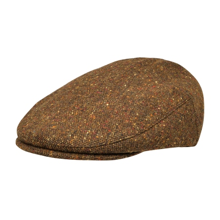Brown Salt & Pepper Donegal Tweed Flat Cap  - Click to view a larger image