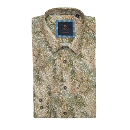 Green Dunross Safari Print Tailored Shirt  - Click to view a larger image