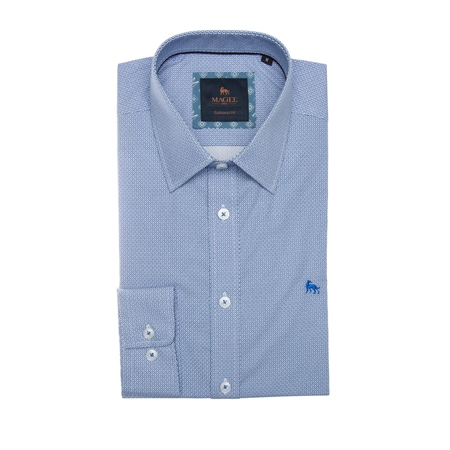 Blue Dunross Micro Design Print Tailored Fit Shirt  - Click to view a larger image