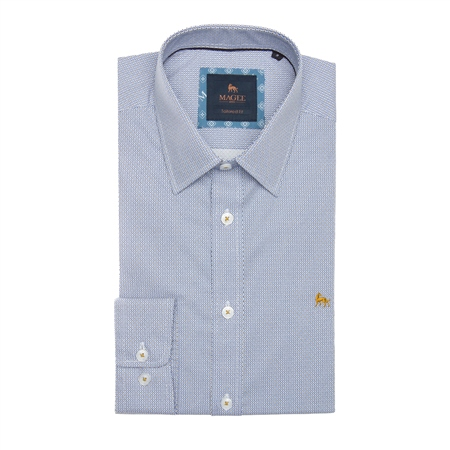 Blue & Yellow Dunross Micro Design Print Tailored Fit Shirt  - Click to view a larger image