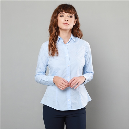 Sky Blue Hannah Jacquard Classic Fit Shirt  - Click to view a larger image