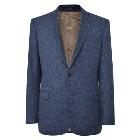 Navy Handwoven Herringbone Donegal Tweed Classic Fit Jacket  - Click to view a larger image