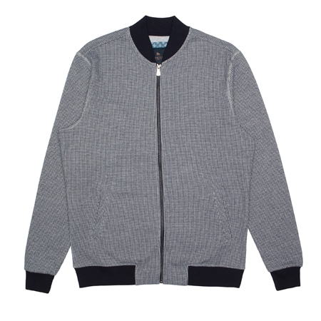 Grey & Navy Puppytooth Malin Full Zip Sweat  - Click to view a larger image