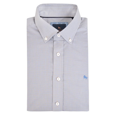 Blue Rarooey Micro Check Classic Fit Shirt  - Click to view a larger image